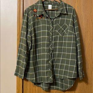 Terra & Sky Green Flannel Top, 1X